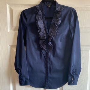 Ann Taylor Ruffle Royal Blue Button Down Shirt 4